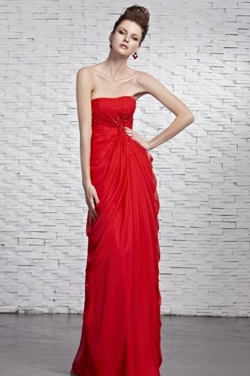Sexy rotes langes Etui-Linie Chiffon Trägerloses Abendkleider Persun