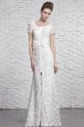 Modisches Etui-Linie Rund-Ausschnitt Rückenfreies Brautkleider