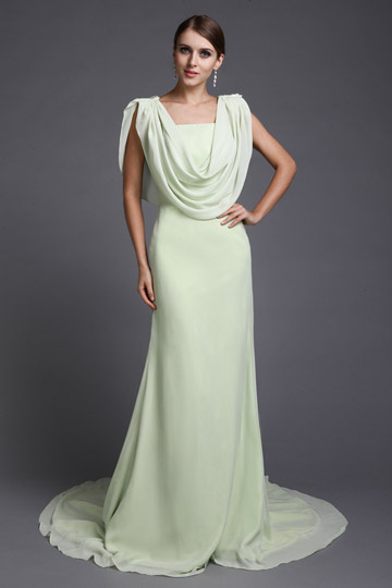 Elegant Chiffon Swing Ruching A line Long Evening Dress