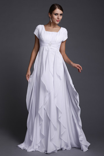 Dressesmall Chiffon Ruffle Ruching Empire A line Long Evening Dress