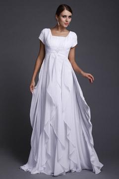 Chiffon Ruffle Ruching Empire A line Long Evening Dress