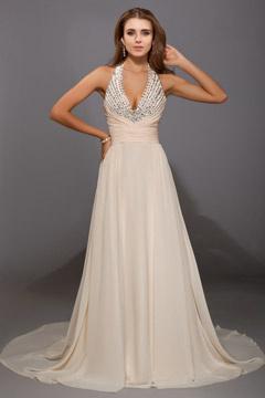 Sheringham Halter V neck Long Evening Dress