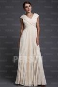 Stylish Chiffon V neck Beading Ruching Empire A line Long Formal Evening Dress