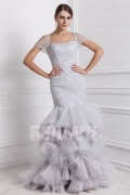 Stylish Tulle Square Neck Ruching Merimaid Long Formal Evening Dress