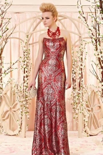 Robe de bal rouge indonésienne enveloppe pailletée