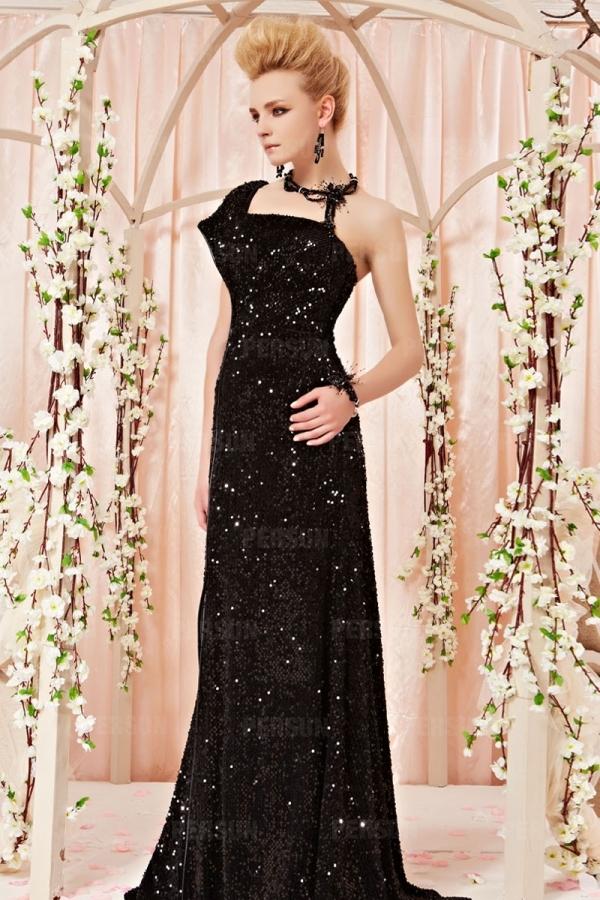 Prachtvolles Ein-Schulter Sequins Abendkleid mit kurzen ...
