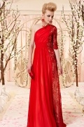 Robe rouge chic empire broderie pailletée en tencel
