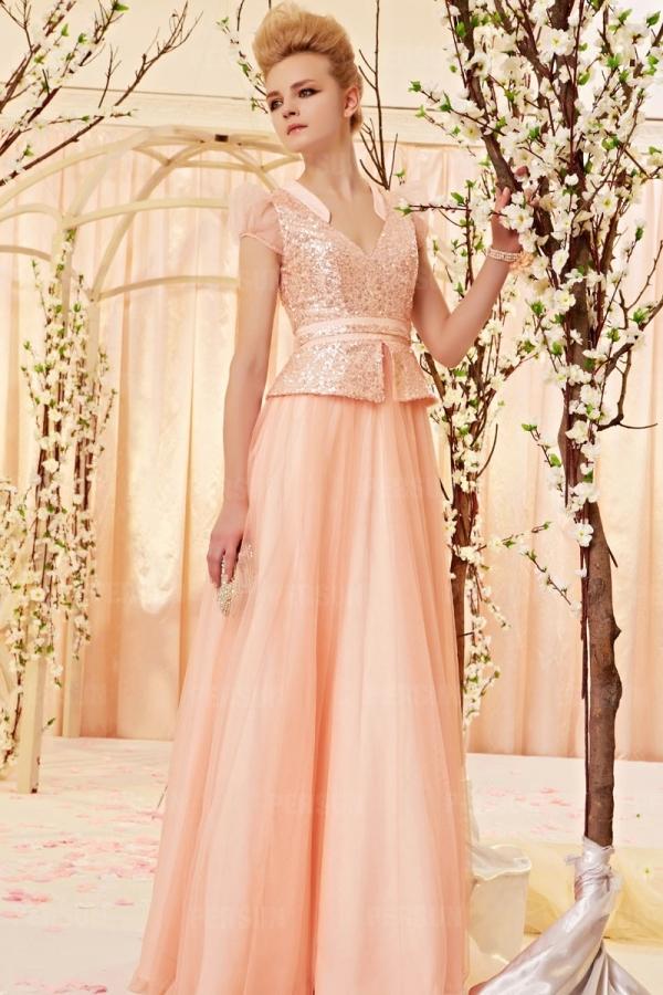 Tüll V-Ausschnitt Paillette langes Abendkleid mit kurzen ...