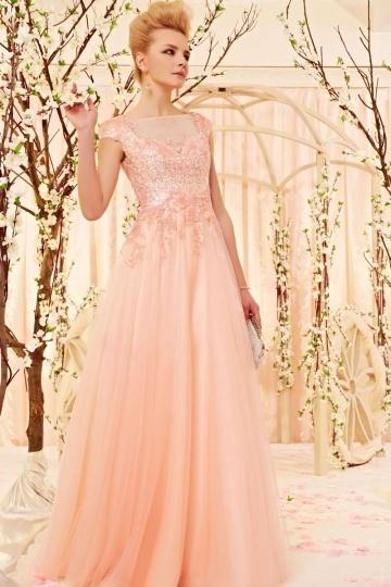 Robe de soirée rose claire empire fleurs appliquées pailletée en tulle