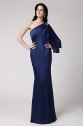 Elegant One Shoulder Blue Tone Mermaid Formal Evening Dress