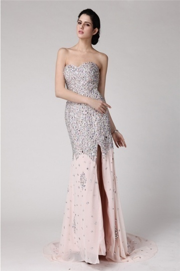 Dressesmall Gorgeous Sequins Side Slit Chiffon Full Length Formal Dress
