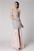 Gorgeous Sequins Side Slit Chiffon Full Length Formal Dress