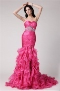 Chic Ruffles Sleeveless Pink Tone Beading Floor length Evening Dress