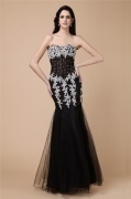 Elegant Black Tulle Beading Full Length Formal Evening Dress