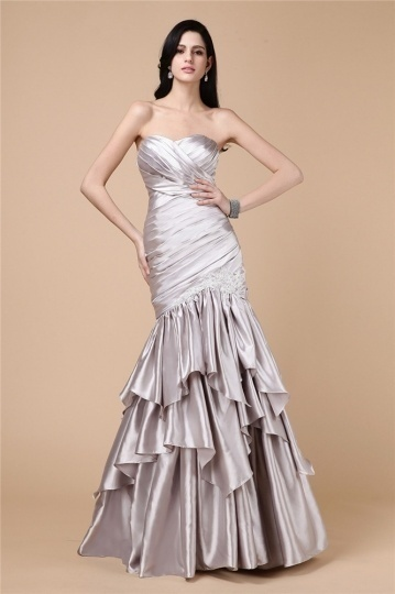 Chic Herz Ausschnitt Meerjungfrau Bodenlang Applikation Abendkleid aus Satin Persunshop