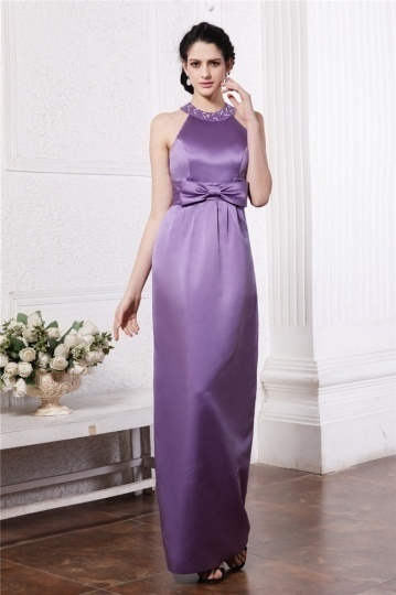 Dressesmall Simple Jewel Purple Tone Sleeveless Bow Full length Formal Evening Dress