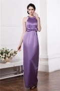 Simple Jewel Purple Sleeveless Bow Long Bridesmaid Dress