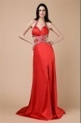 Sexy Halter Side Slit Red Beading Formal Evening Dress