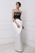 Modern Color Block Strapless Lace Ribbon Full Length Formal Dress