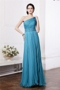 Chic One Shoulder Blue Tone Ruching Chiffon Full Length Formal Evening Dress