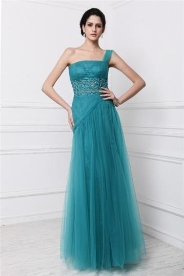 Dressesmall Chic One Shoulder Tulle Beading Full Length Formal Dress