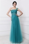 Chic One Shoulder Tulle Beading Full Length Formal Dress
