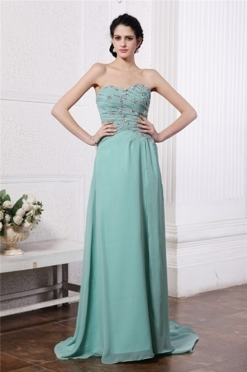 Sexy Strapless Green Beading Chiffon Long Bridesmaid Dress