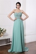 Sexy Strapless Green Tone Beading Chiffon Floor Length Formal Dress