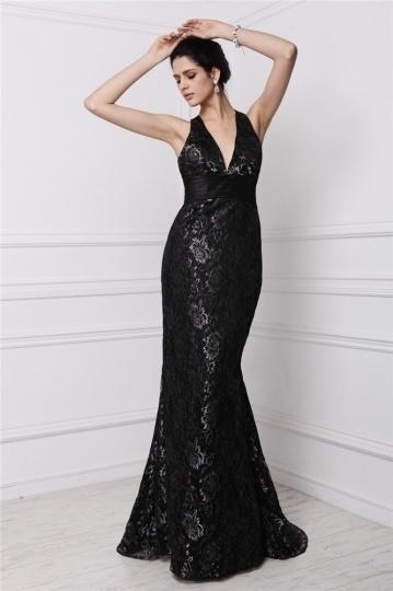 Sexy schwarzes Halter Meerjungfrau langes Abendkleid aus Spitze Persun