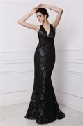 Sexy Black Open Back Mermaid Lace Formal Evening Dress