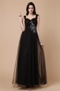 Elegant Tulle Strap Full Length Formal Evening Dress