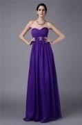 Gorgeous Beading Ruching Backless Long Bridesmaid Dress