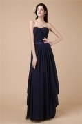 Sexy A line Strapless Black Tone Full Length Formal Evening Dress