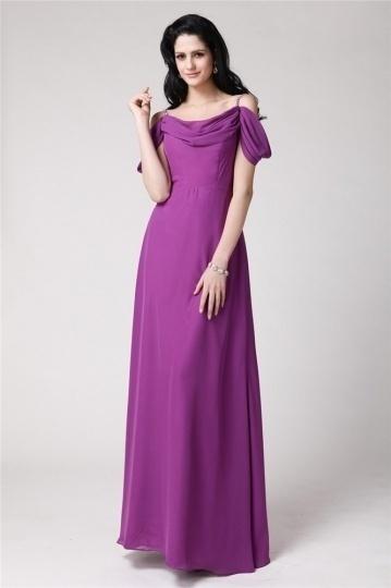 Dressesmall Modern Purple Tone Strap Chiffon Ruching Formal Dress