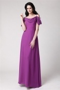Modern Purple Straps Chiffon Ruching Bridesmaid Dress