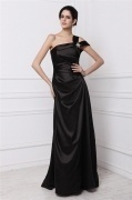 Chic One Shoulder Zipper Satin Full Length Formal Evening Dress