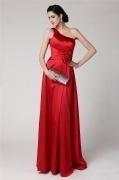 Elegantes rotes A-Linie Ein Schulter Bodenlanges Abendkleider aus Satin