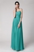 Strapless Ruching Green Tone Full Length Formal Dress