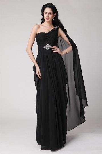 Dressesmall Modern One Shoulder Beading Chiffon Blace Floor Length Formal Dress