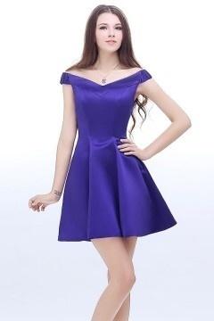 Elegant A-Linie Off Schulter Kurz Abendkleid Partykleider aus Satin 7d501714d8