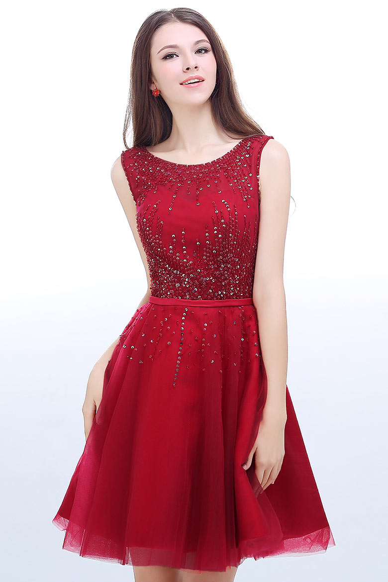 robe de cocktail rouge courte à paillettes