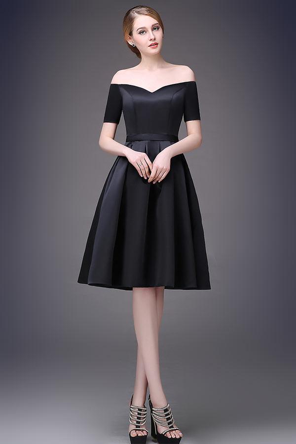 A-Linie Kurz knielang kleine Schwarz träglos 3/4 Ärmel Abendkleid aus stain