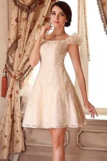 Vintage A-Linie Kurz Empire Brautkleider Abendkleid mit Cap-Ärmeln Persun