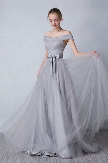 Grey Long Evening Dress With Off Shoulder Bow Sash