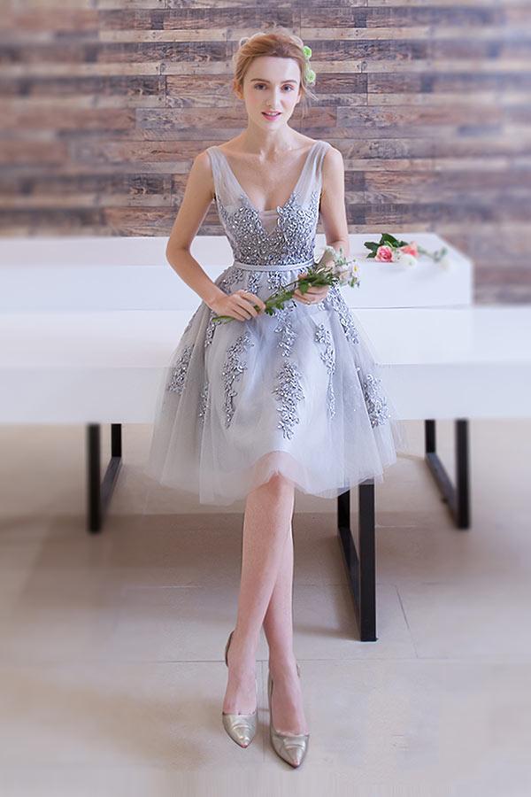 schneidern Blumen silbrige knielange Kleid