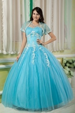 Robe princesse bleue bustier coeur appliquée avec boléro transparent