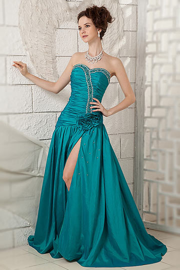 Gunstig Elegant A Linie Lang Armellos Grun Abendkleider Aus Taft Online Verkauf Persun