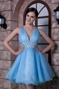 Petite robe bleue sexy col v plongeant empire dos découpe