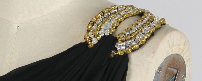 black formal dress shoulder