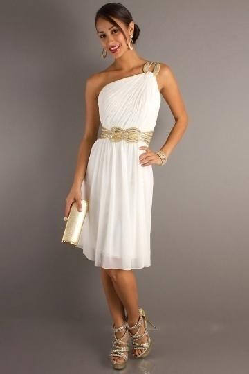 Chiffon One Shoulder Ruching Beading A line Prom Dress